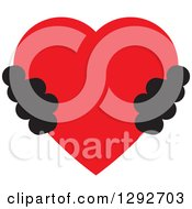 Clipart Of A Pair Of Black Hands Holding A Red Heart Royalty Free Vector Illustration