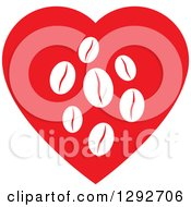 Clipart Of A Red Heart With White Coffee Beans Inside Royalty Free Vector Illustration by ColorMagic