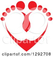 Red Baby Toes And Feet Forming A Heart