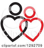 Clipart Of A Black And Red Entwined Heart Shaped Couple Royalty Free Vector Illustration