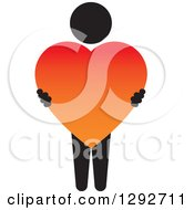 Clipart Of A Black Person Holding A Big Gradient Red And Orange Love Heart Royalty Free Vector Illustration