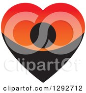 Clipart Of A Black Person Forming The Bottom Half Of A Big Gradient Red And Orange Love Heart Royalty Free Vector Illustration