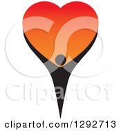 Clipart Of A Black Person Holding Up A Big Gradient Red And Orange Love Heart Royalty Free Vector Illustration