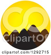 Clipart Of A Landscape Of Silhouetted Mountain Peaks Against A Yellow Sunset Royalty Free Vector Illustration