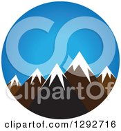 Clipart Of A Landscape Scene Of Snow Capped Mountain Peaks Against Blue Sky Royalty Free Vector Illustration