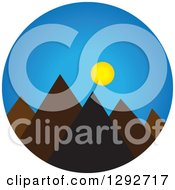 Clipart Of A Landscape Scene Of Mountain Peaks With Blue Sky And The Sun Royalty Free Vector Illustration