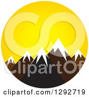 Clipart Of A Landscape Scene Of Snow Capped Mountain Peaks At Sunrise Or Sunset Royalty Free Vector Illustration