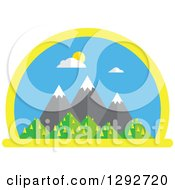 Clipart Of A Flat Styled Arched Scene Of Snow Capped Mountains And Hills On A Sunny Spring Day Royalty Free Vector Illustration