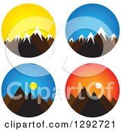Clipart Of Landscape Scenes Of Mountain Peaks With Snow Caps Sunrise And Sunset Royalty Free Vector Illustration