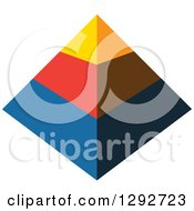 Clipart Of A Yellow Red And Blue 3d Pyramid Royalty Free Vector Illustration