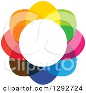 Clipart Of A Flower Design Of Colorful Overlapping Petals And A White Center Royalty Free Vector Illustration