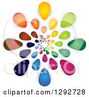 Clipart Of A Spiral Of Colorful Flower Petals Or Droplets And Shadows Royalty Free Vector Illustration