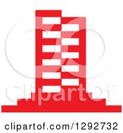 Clipart Of A Red Urban Commercial Skyscraper Building Royalty Free Vector Illustration by ColorMagic