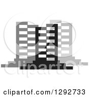 Clipart Of Black And Gray Urban Commercial Skyscraper Buildings Royalty Free Vector Illustration