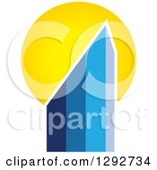 Clipart Of A Gradient Blue Urban Commercial Skyscraper Building And Sunset Royalty Free Vector Illustration