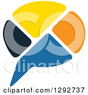Clipart Of A Colorful Blocky Instant Messenger Chat Balloon Royalty Free Vector Illustration