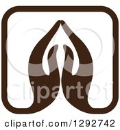 Clipart Of A Pair Of Brown Prayer Or Namaste Hands Forming A Square Royalty Free Vector Illustration