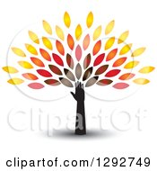 Clipart Of A Hand And Arm With A Shadow Forming The Trunk Of A Tree With Colorful Autumn Leaves Royalty Free Vector Illustration