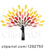 Clipart Of A Hand And Arm Forming The Trunk Of A Tree With Colorful Autumn Leaves Royalty Free Vector Illustration by ColorMagic