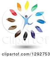 Clipart Of A Happy Blue Man Leaping In A Circle Of Colorful Leaves Royalty Free Vector Illustration