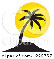 Clipart Of A Black Tropical Silhouetted Palm Tree And Yellow Sunset Royalty Free Vector Illustration