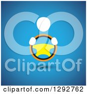 Clipart Of A White Person With Hands On A Steering Wheel Over Blue Royalty Free Vector Illustration