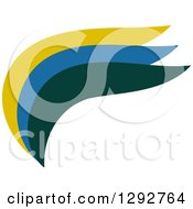 Clipart Of An Abstract Flat Design Of A Yellow Blue And Green Wave Swoosh Or Wing Royalty Free Vector Illustration by ColorMagic