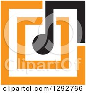 Clipart Of A Black Music Note Merched Into Orange Squares Royalty Free Vector Illustration