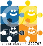 Clipart Of Colorful Happy Smiling Connected Puzzle Pieces Royalty Free Vector Illustration