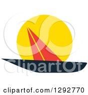Clipart Of A Black And Red Sailboat Against A Sunset Royalty Free Vector Illustration