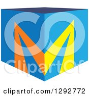 Clipart Of A 3d Blue Cubic Box And Letter M On The Corner Royalty Free Vector Illustration by ColorMagic