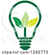 Clipart Of A Green Energy Light Bulb With Leaves Royalty Free Vector Illustration