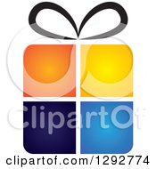 Clipart Of A Gradient Four Colored Gift Box With A Black Bow Royalty Free Vector Illustration