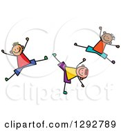 Clipart Of Energetic Happy Stick Boys Jumping And Cartwheeling Royalty Free Vector Illustration