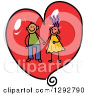 Clipart Of A Happy Stick Boy And Girl Couple Holding Hands In Side A Red Valentine Love Heart Royalty Free Vector Illustration