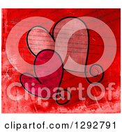 Clipart Of Two Valentine Love Hearts Over Distressed Printed Text Royalty Free Illustration