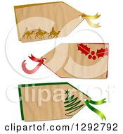 Clipart Of A Parchment Paper Gift Tag Labels With Wise Men Holly And A Christmas Tree On A White Background Royalty Free Illustration