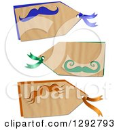 Clipart Of A Parchment Paper Gift Tag Labels With Colorful Mustaches On A White Background Royalty Free Illustration