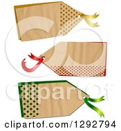 Clipart Of A Parchment Paper Gift Tag Labels With Polka Dot Hole Punches Over Color On A White Background Royalty Free Illustration