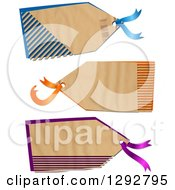 Clipart Of A Parchment Paper Gift Tag Labels With Cut Stripes Revealing Color On A White Background Royalty Free Illustration