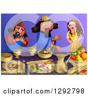 Clipart Of The Scene Of Esthers Banquet With The King And Haman Royalty Free Illustration