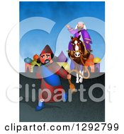 Clipart Of A Jewish Purim Scene Of Mordecai Honoured By An Angry Haman Royalty Free Illustration