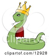 Proud Green King Snake In A Robe And Crown Clipart Illustration by Dennis Cox
