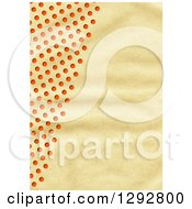 Textured Antique Paper Background With Red Polka Dots
