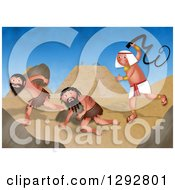 Clipart Of A Passover Scene Of Jewish Slaves Being Treated Cruelly By Egyptians Royalty Free Illustration