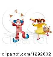 Clipart Of A Boy In A Purim Clown Costume And Girl With Mishloach Manot Royalty Free Illustration