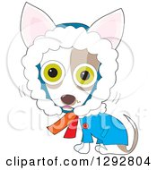 Poster, Art Print Of Cartoon Cold Shivering Chilly Chihuahua In A Winter Coat