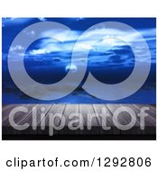 Clipart Of A 3d Close Up Of A Dock Or Deck With A View Of The Ocean At Night Royalty Free Illustration by KJ Pargeter