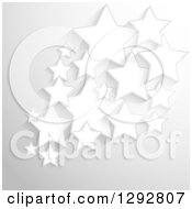Clipart Of A Background Of 3d White Stars Over Gray Royalty Free Vector Illustration by KJ Pargeter