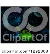 Clipart Of A 3d Green Planet With Trees Floating In Outer Space Royalty Free Illustration